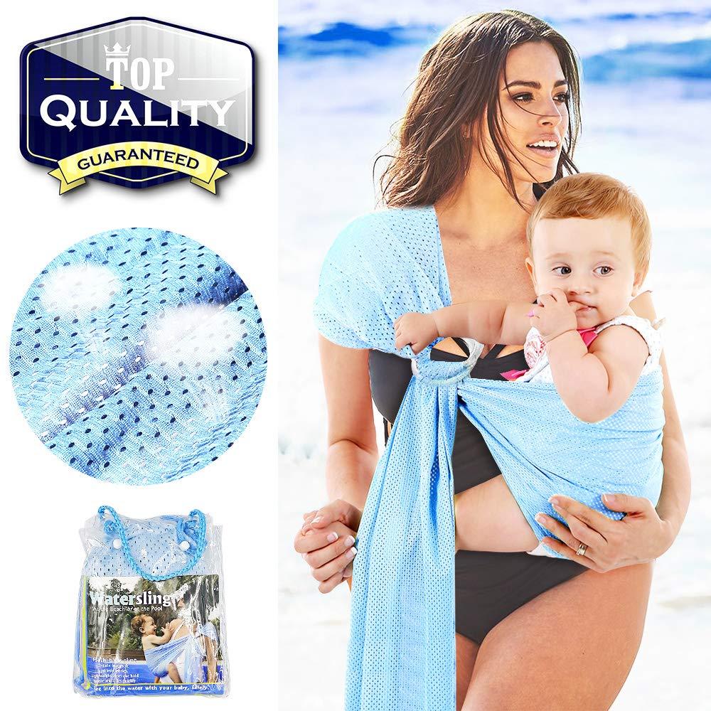 Schwimmen atmungsaktiv HINATAA Verstellbare Baby-Tragetuch f/ür Babys schnell trocknend ideal f/ür Sommer Netzstoff Strand Pool