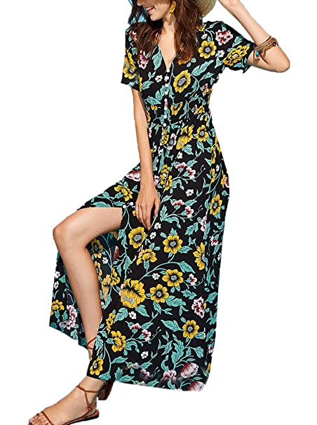 0b2db9ec2698 Milumia Women s Button Up Split Floral Print Flowy Party Maxi Dress ...