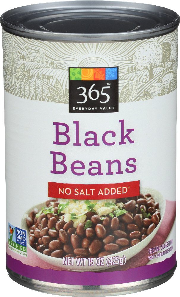 365 Everyday Value, Black Beans, No Salt Added, 15 oz