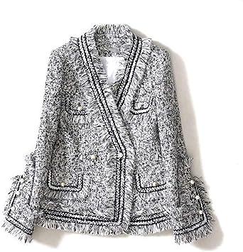 DGFHR Veste Femme Le Manteau Court De Chemise De Tweed De Petit Parfum De Printemps dautomne Et dhiver Femelle /Était Mince