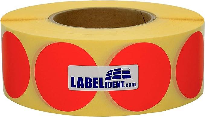 Labelident Markierungspunkte rot 3 Zoll Rollenkern 3000 Klebepunkte rund auf 1 Rolle n Vinyl selbstklebend /Ø 30 mm