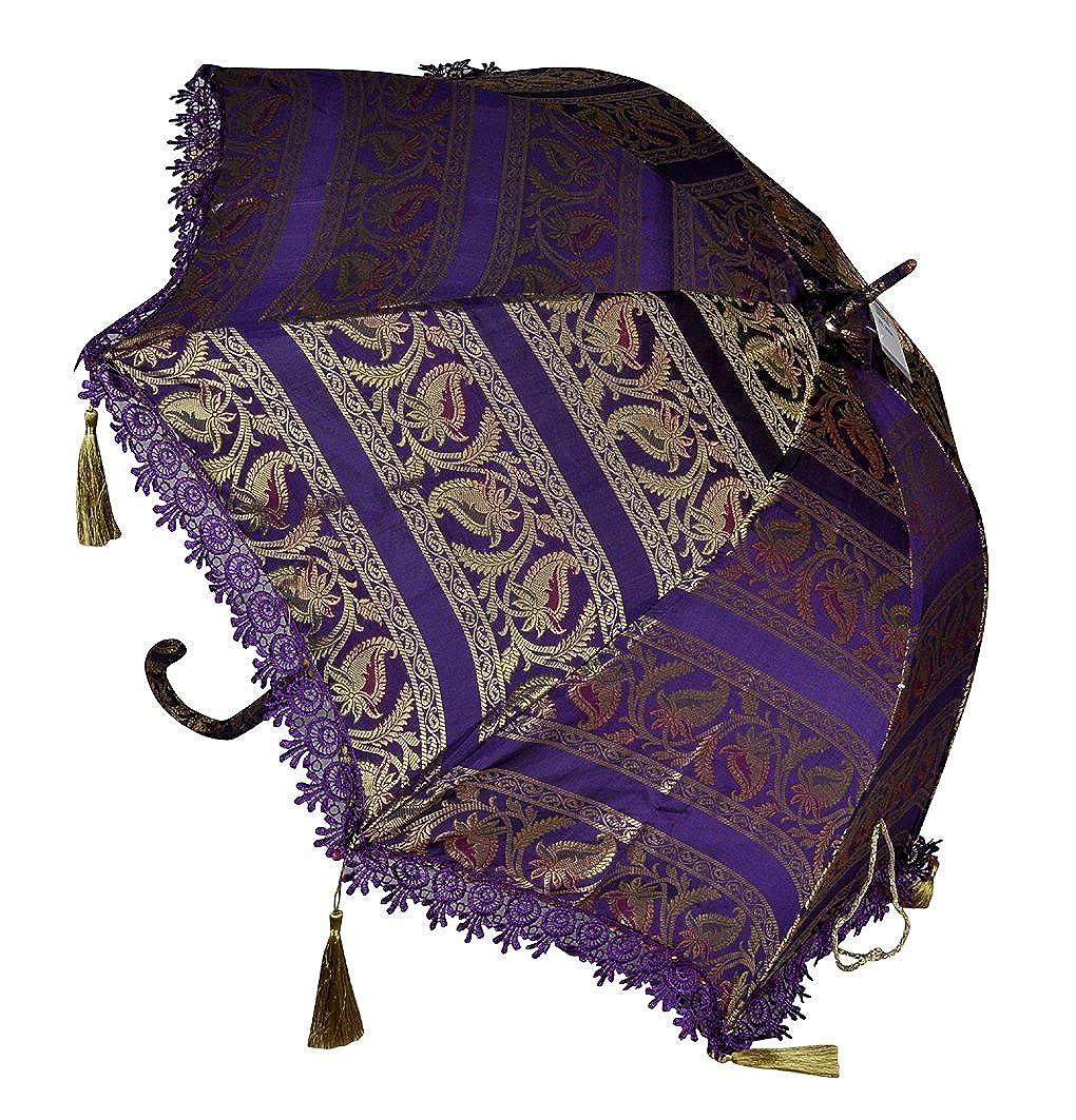 Wedding Decor Indian Silk Parasol Umbrella 30 X 34 Inches Lal Haveli UML03983