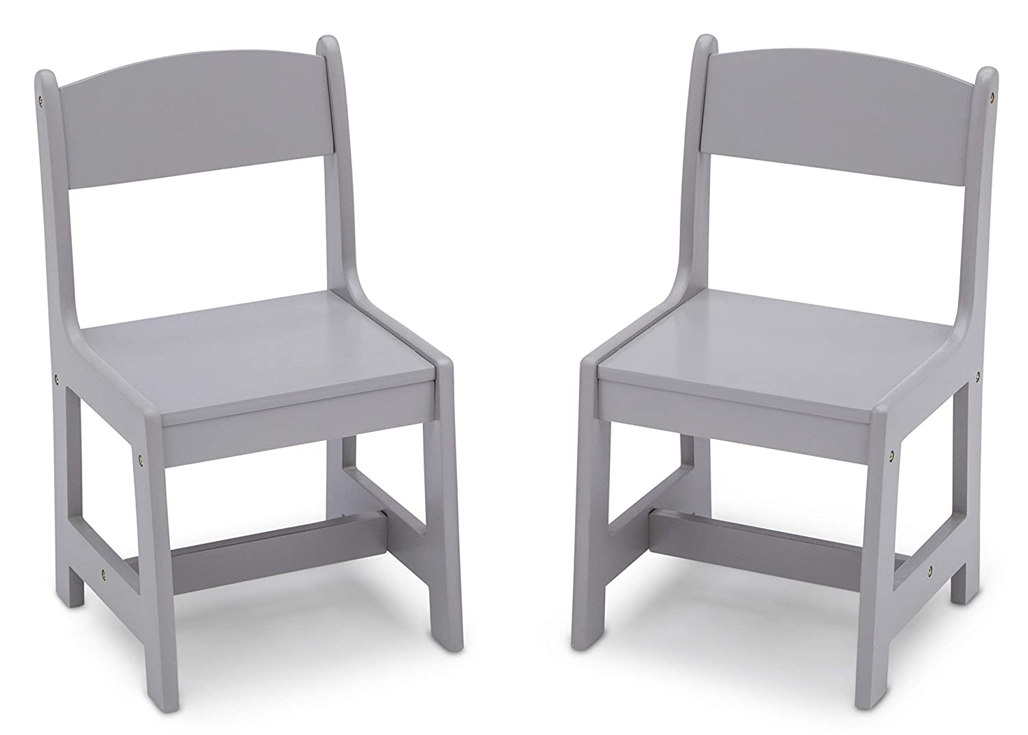 Delta Children MySize Wood Kids Chairs for Playroom [Pack of 2], Grey