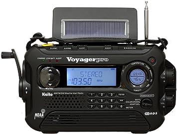 Kaito Voyager Pro KA600 Digital Solar Dynamo Crank Wind Up AM/FM/LW/SW &  NOAA Weather Emergency Radio with Alert & RDS, Flashlight and Reading Lamp  +
