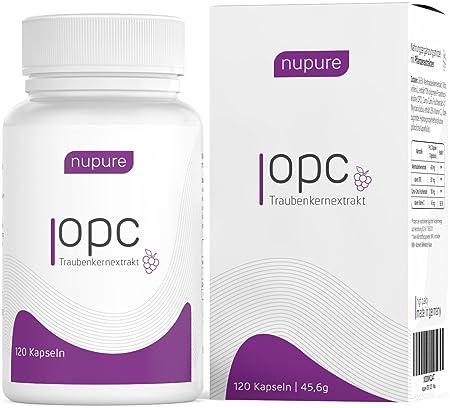 Nupure OPC Traubenkernextrakt Hochdosiert Plus Natürliches Vitamin C - Made In Germany (2 Monatsvorrat)