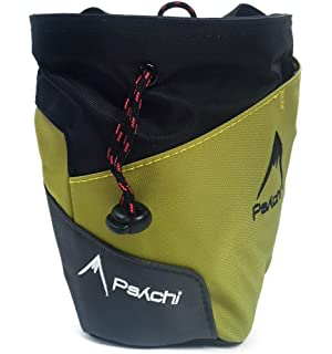 Bolsa de tiza Psychi Premium para escalada en roca con bolsillo trasero con cremallera y cinturón