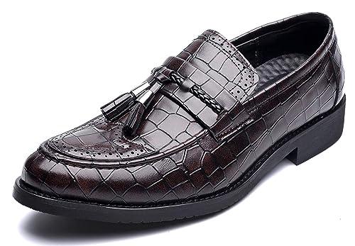 NXY De los Hombres Vendimia Cuero Borla Mocasines Acento irlandés Boda Vestir Fiesta Trabajo Zapatos Formales Marrón 40: Amazon.es: Zapatos y complementos