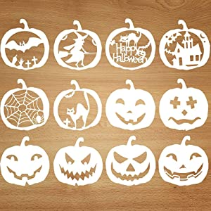 Mocoosy Halloween Pumpkins Stencils Template - Fall Pumpkins Stencils Set Kids Plastic Painting Drawing Stencils for Crafts Spraying Wall Door Window Glass Wood Cards and More 12 Pack