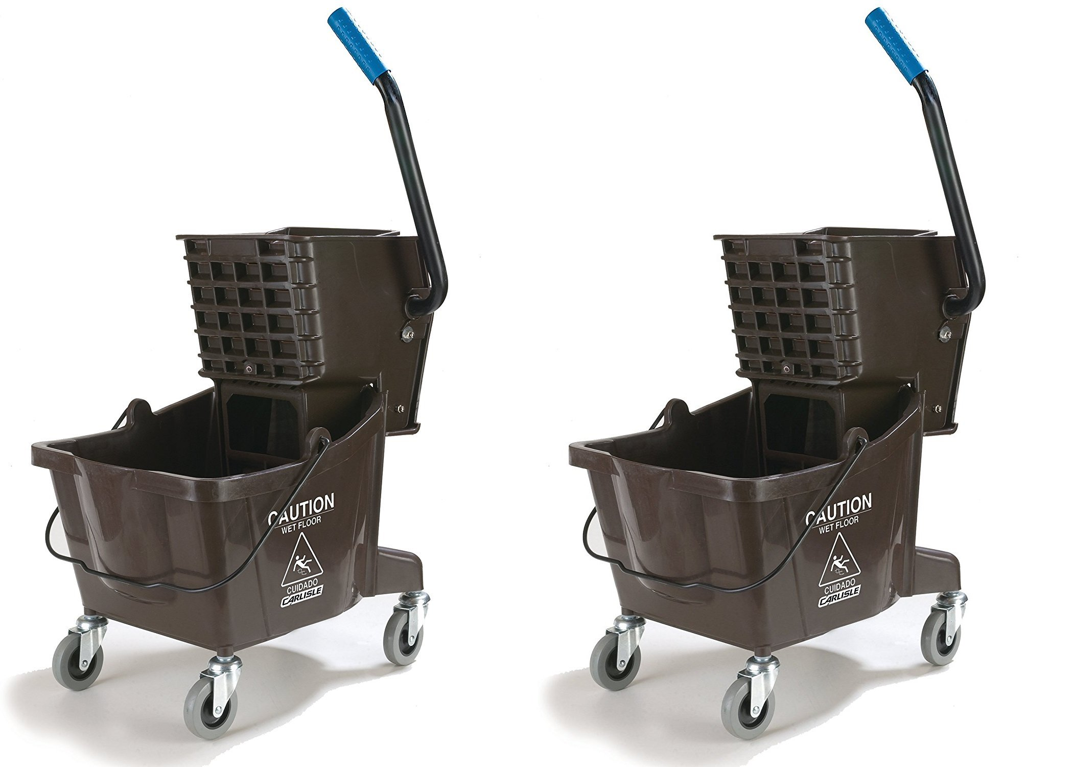 Carlisle 3690869 Commercial Mop Bucket With Side Press Wringer, 26 Quart Capacity, Brown (2 PACK)