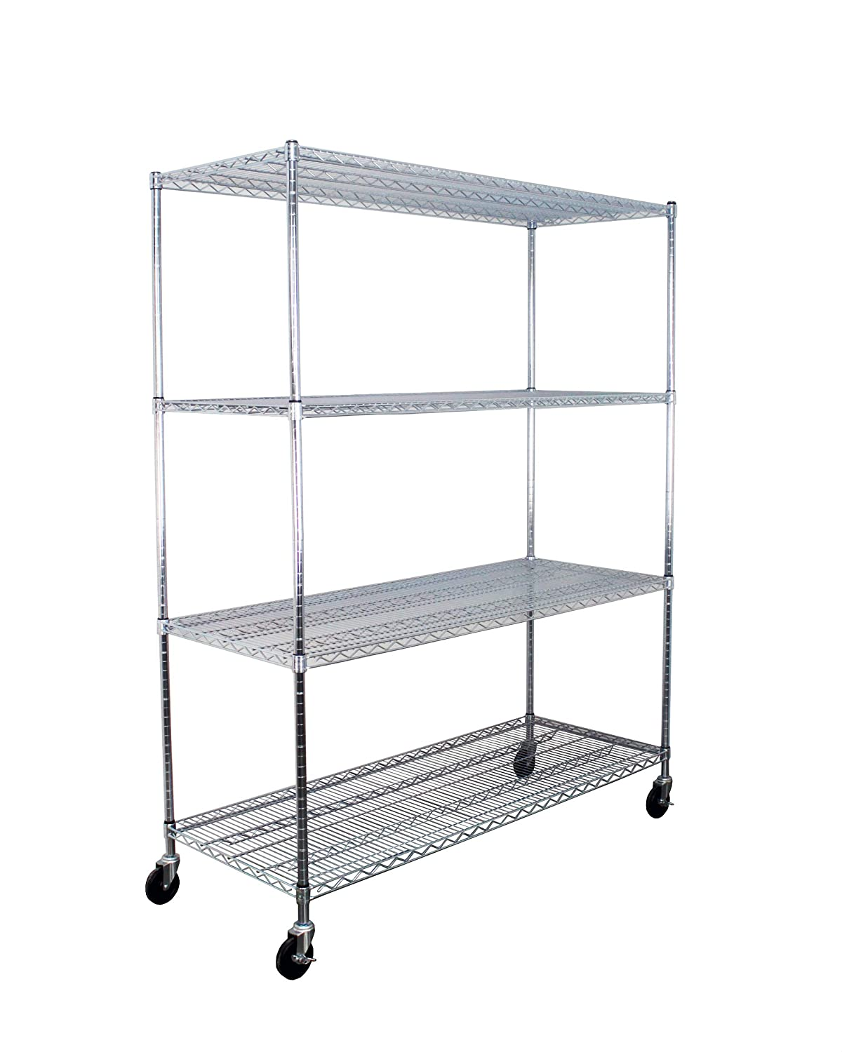 """SafeRacks NSF Certified Commercial Grade Adjustable 4-Tier Steel Wire Shelving Rack with 4"""" Wheels - 24"""" x 60"""" x 72"""" (24""""x60""""x72"""" 4-Tier)"""