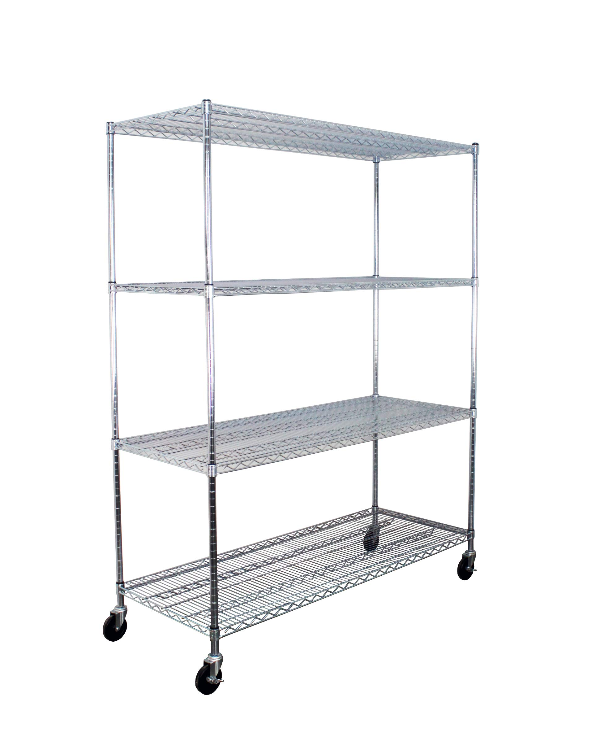 SafeRacks NSF Certified Commercial Grade Adjustable 4-Tier Steel Wire Shelving Rack with 4'' Wheels - 24'' x 60'' x 72'' (24''x60''x72'' 4-Tier) by SafeRacks