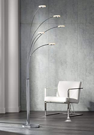 best service ee031 29551 Possini Euro Aldo Chrome 5-Light LED Arc Floor Lamp