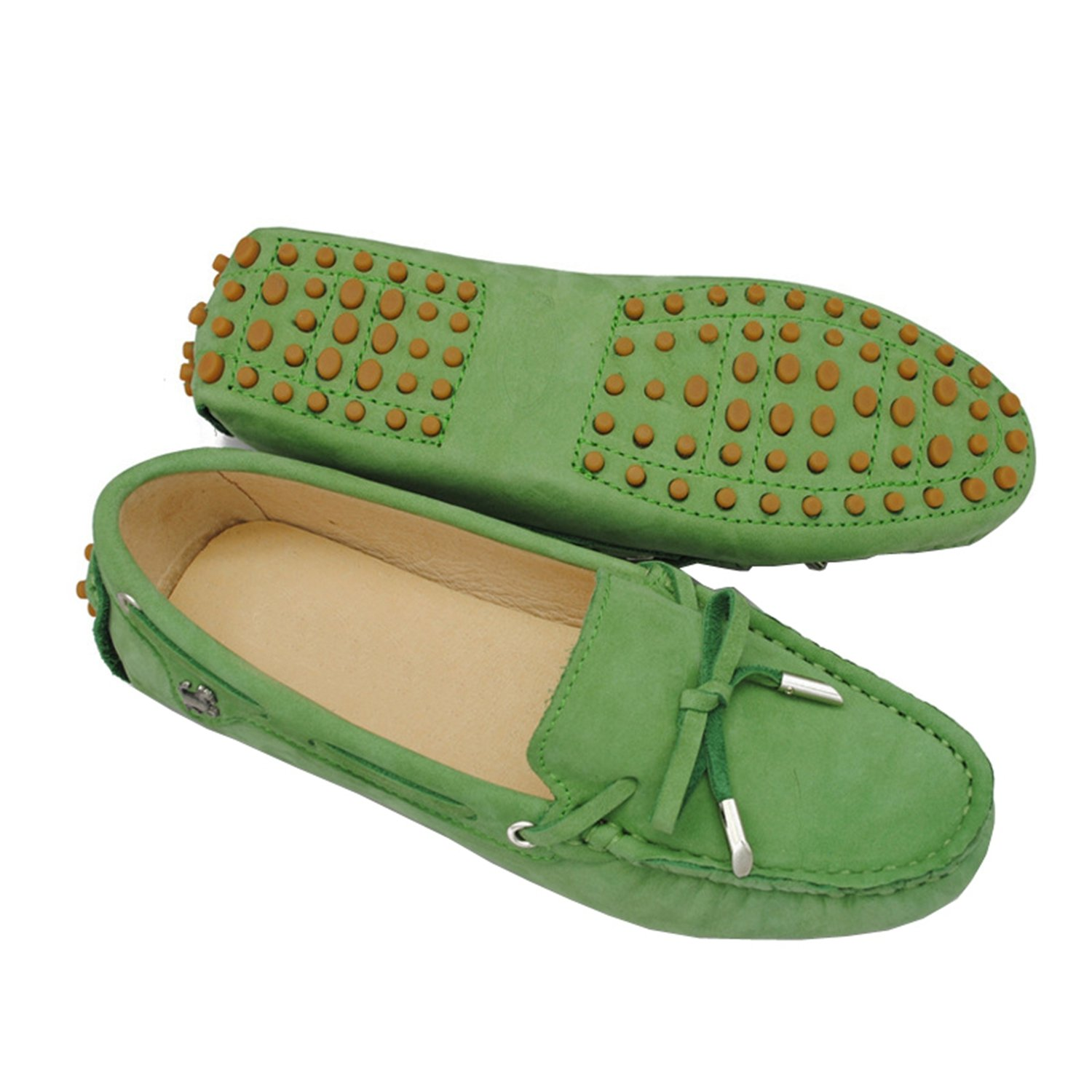 Minitoo Girls da donna in pelle nabuk slip-on barca casual barca slip-on scarpe ballerine mocassini Algae Green ceff11