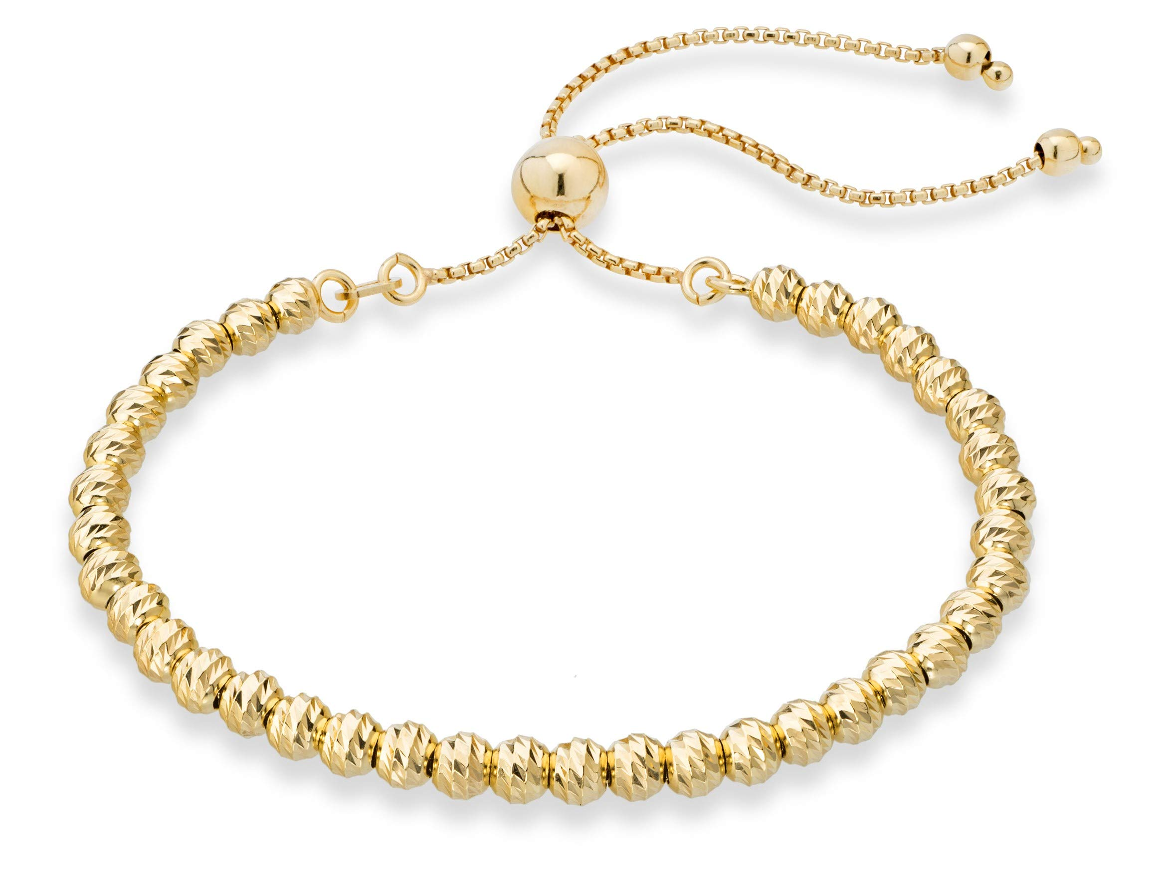 MiaBella 925 Sterling Silver Diamond-Cut Adjustable Bolo 4mm Bead Bracelet for Women, Handmade Italian Beaded Ball Chain Bracelet, Choice White or Yellow (Yellow-Gold-Plated-Silver) by MiaBella