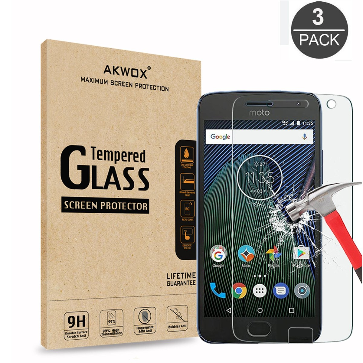 (3-Pack) Tempered Glass Screen Protector for Moto G5 Plus, Akwox Ultra thin [0.3mm 2.5D High Definition 9H] Premium Clear Screen Protective Film For Motorola Moto G 5th Plus Generation