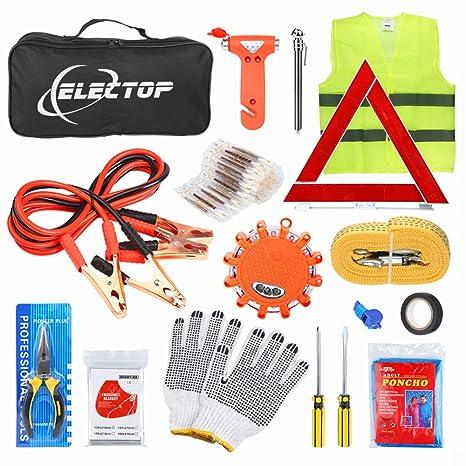 Amazon Com Electop Roadside Assistance Auto Emergency Kit 66 Pieces