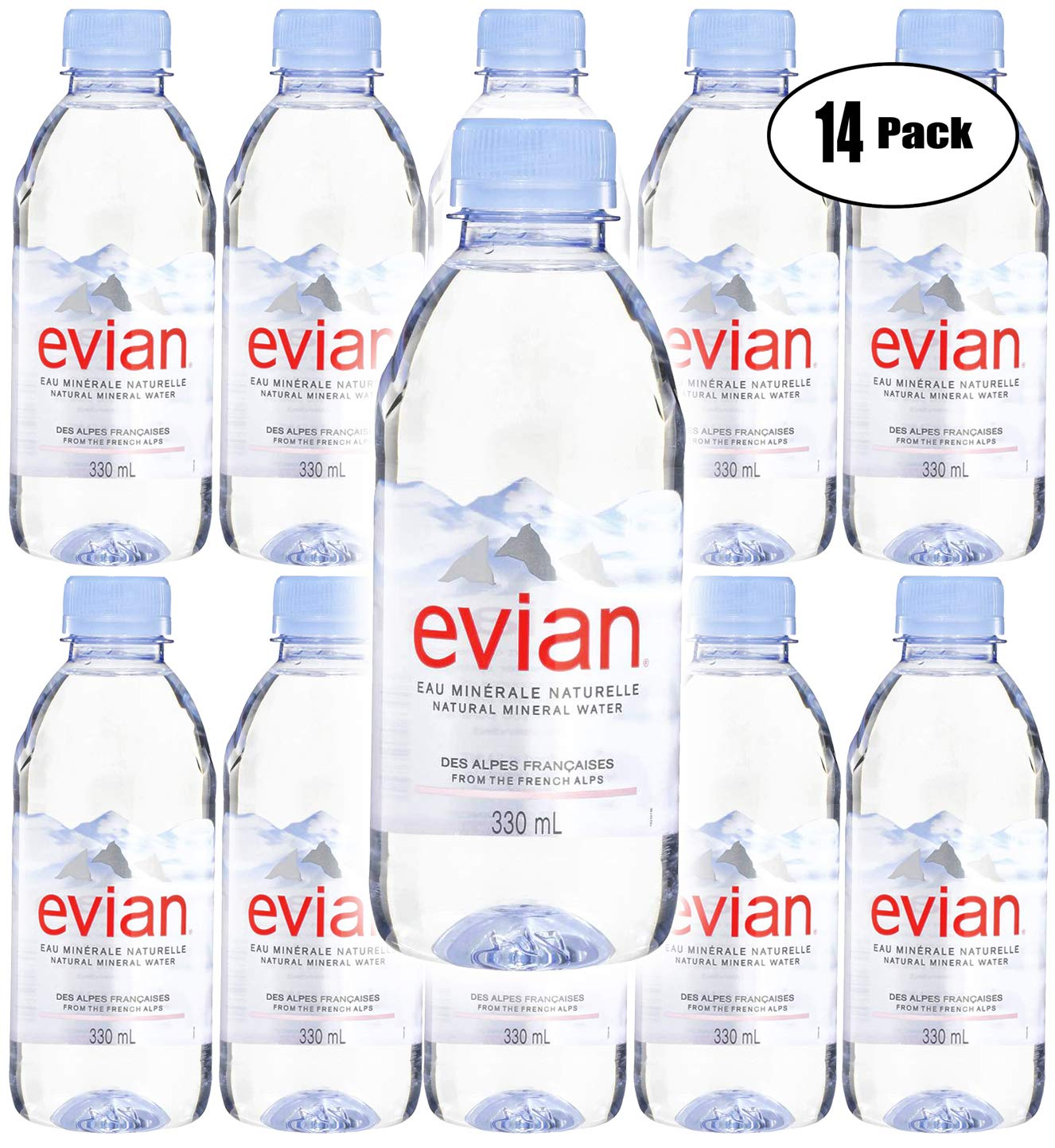 Evian Natural Spring Water, 11.2oz Mini Bottle (Pack of 14, Total of 156.8 Oz)