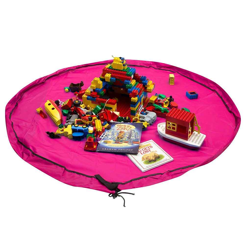 Whale Life Lego Storage Container Organization Portable Toy Organizer and Play Floor Mat, Big Lego Pouch Bag Sack for Baby and Older Kids (Pink Magenta)