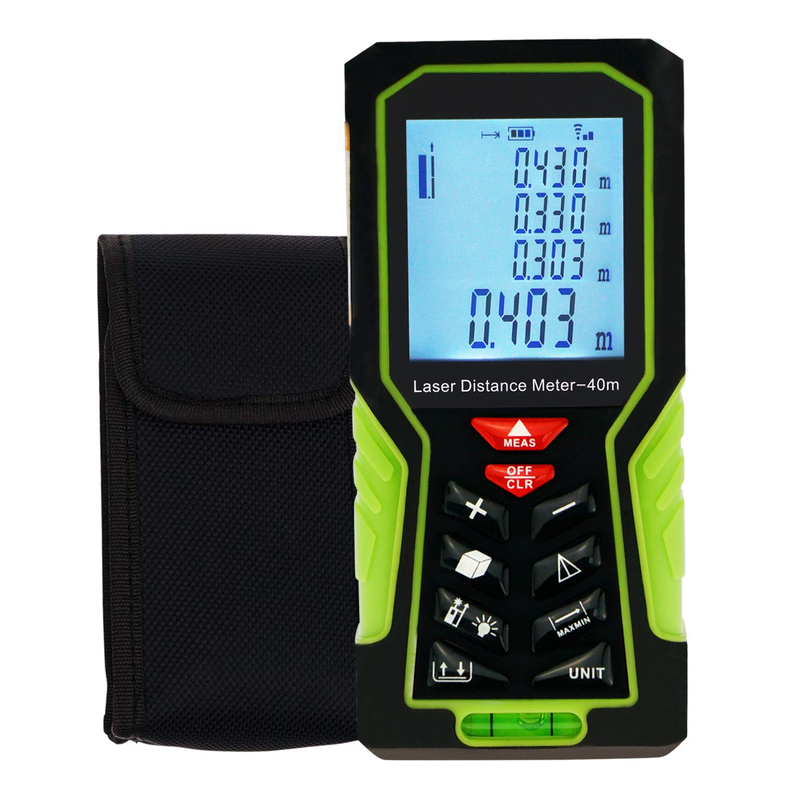 Portable Distance Meter with Max/Min Value Display 40m(131ft) Range finder Tester Measuring Area Volume, Data Storage
