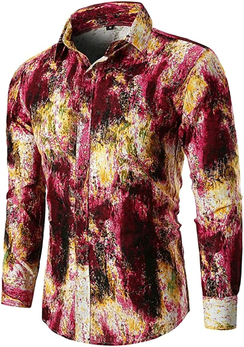 Sayhi Men Turn Down Long Sleeve Ombre Leisure Printing Button Down Shirts