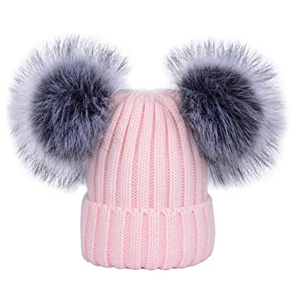 263c80bf3c4 Women s Winter Ribbed Knitted Faux Fur Double Pom Pom Beanie Hat Pink   Amazon.ca  Luggage   Bags