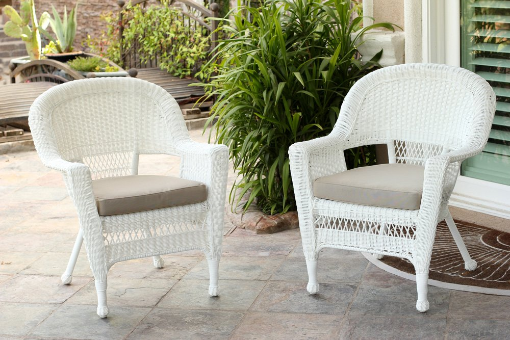 Jeco W00206-C_2-FS006-CS Wicker Chair with Tan Cushion, Set of 2 White/W00206-
