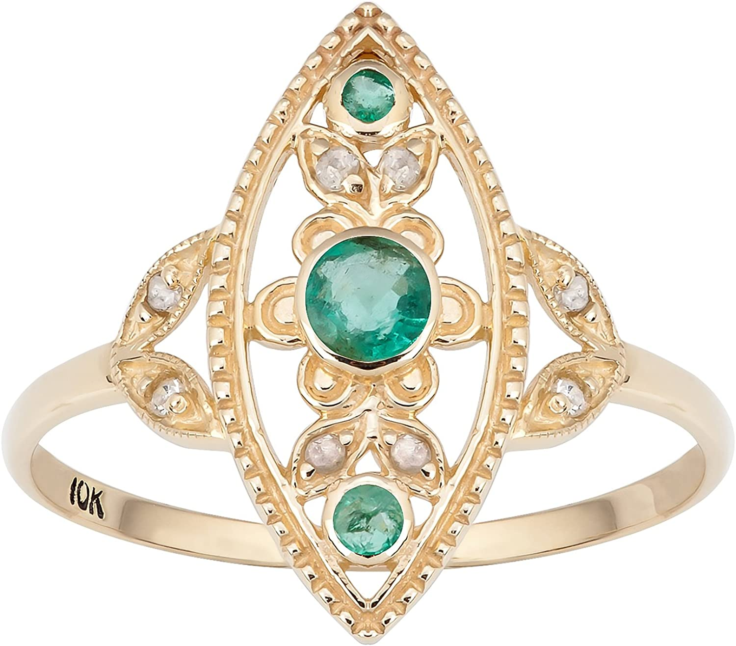 2.50Ct Emerald Cut Green Emerald Antique Vintage Ring In 14K Yellow Gold Finish