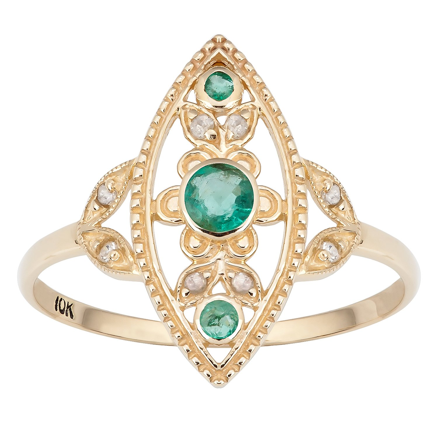 10k Yellow Gold Antique Style Genuine Round Emerald and Diamond Ring by Instagems