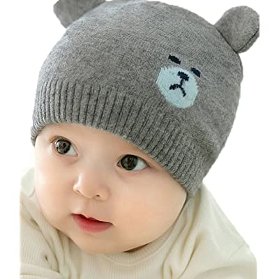 2017 New Gray Cute Bear Ear Woolen Yarn Knitted Hat Baby Girls Boys Autumn and Winter Hat Korea Style