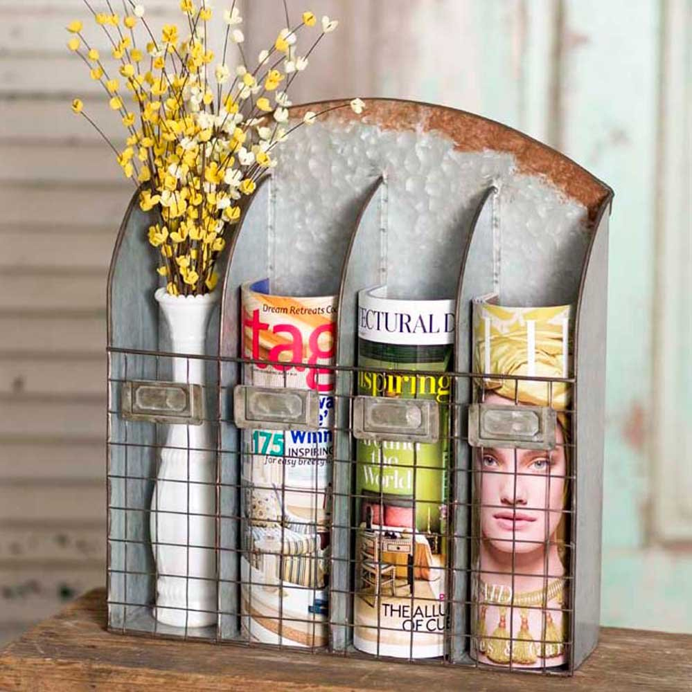 Rustic Farmhouse Country Living Theme Home Decor Four Pocket Nameplate Wall Caddy Bin CTW 530086
