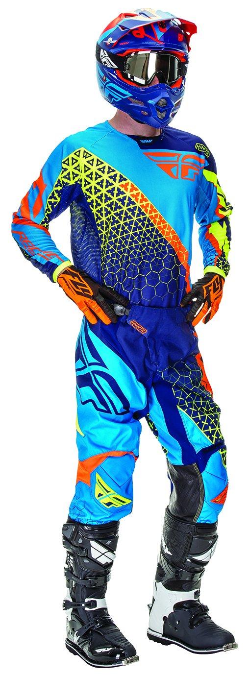 linea Kinetic Trifecta S colore blu e arancione prodotto ad alta visibilit/à completo per adulto con pantaloni e maglia RFX in jersey Fly Racing taglia 30