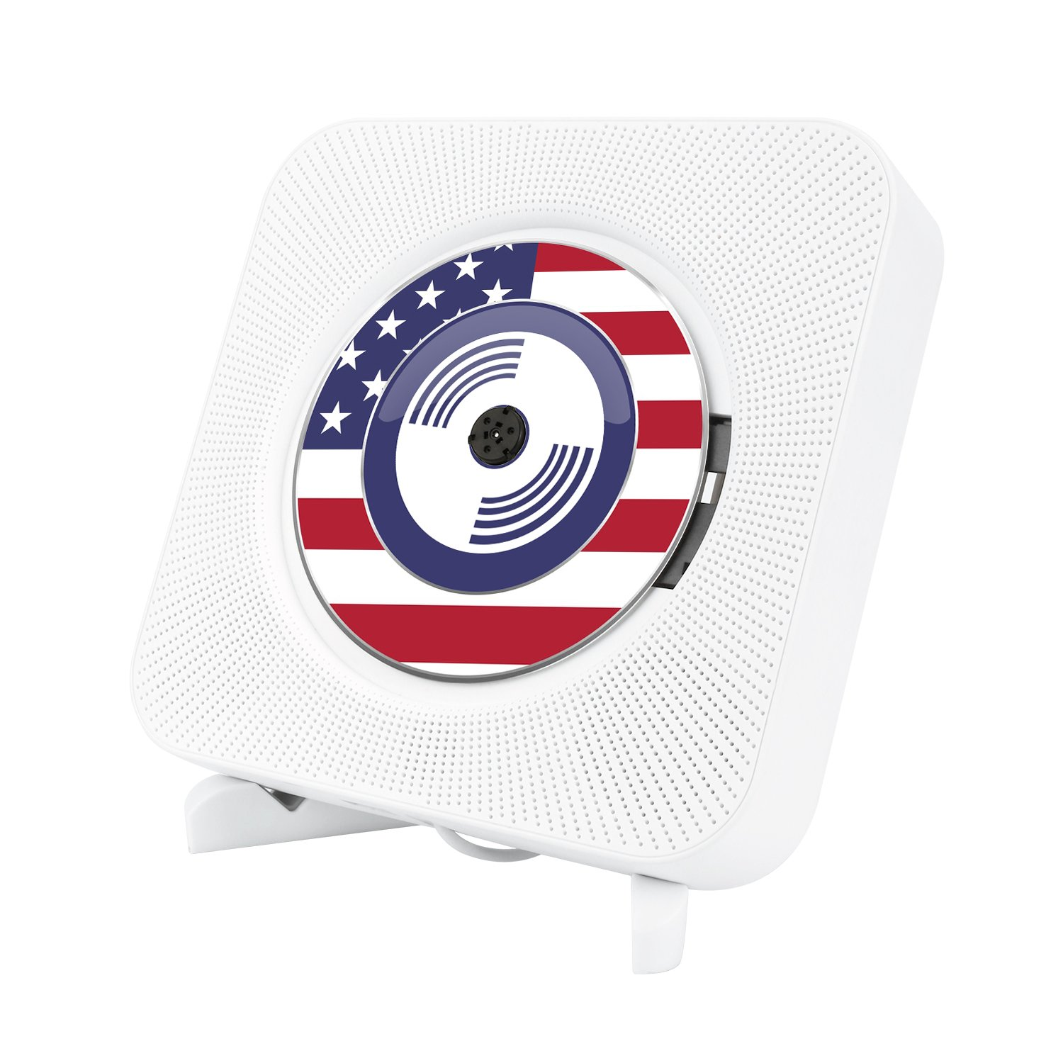 COOAU Portable CD Player Bluetooth Hi-Fi Speaker Wall Mountable Home Audio Speaker with Remote Control, USB MP3 WMA 3.5mm Headphone Jack & AUX input/output, White