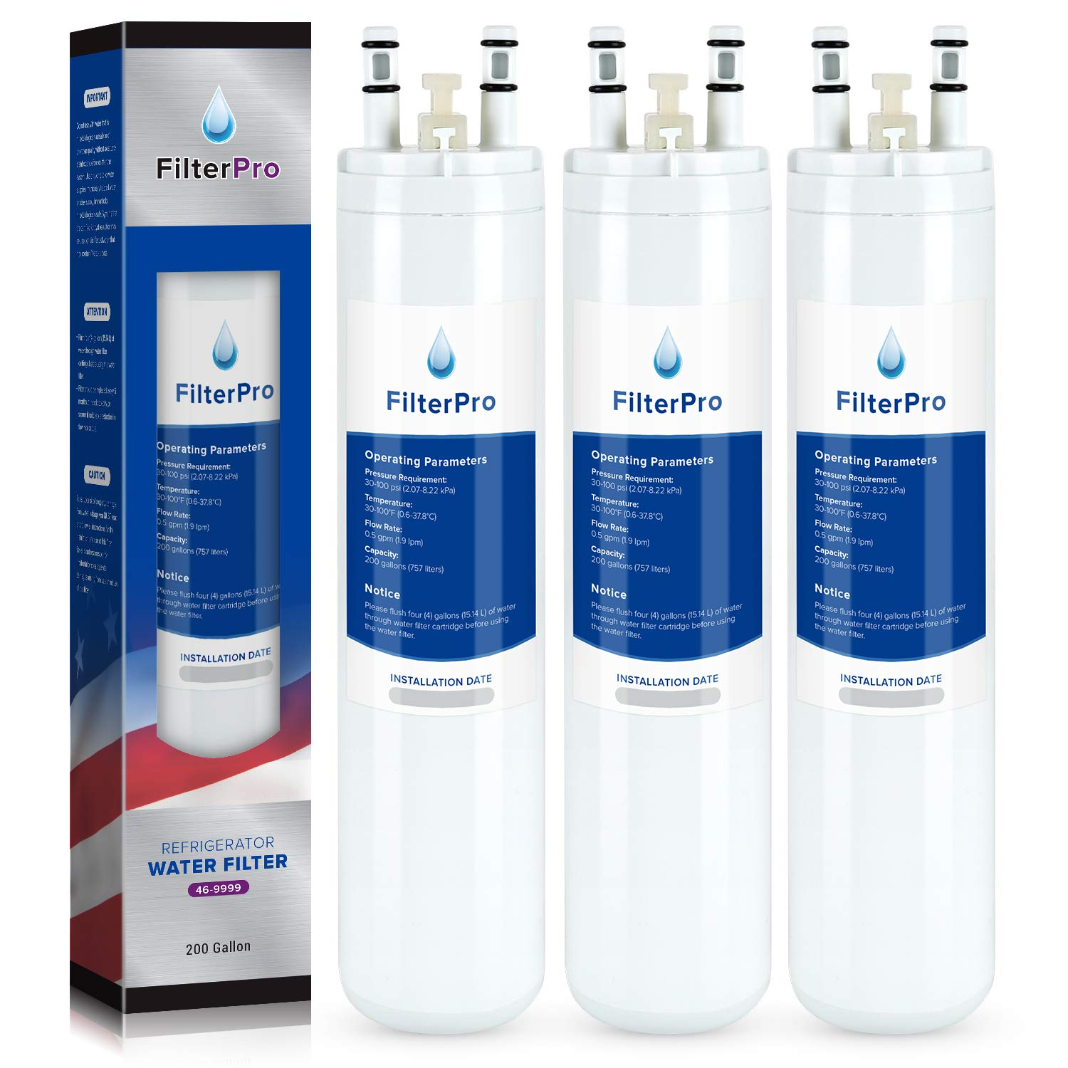 FilterPro Replacement for Refrigerator Water Filter 9999, white (3 Pack)
