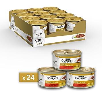 Gourmet Gold Casserole para el Gato, con Manzo Y Pollo en Salsa de Tomate,