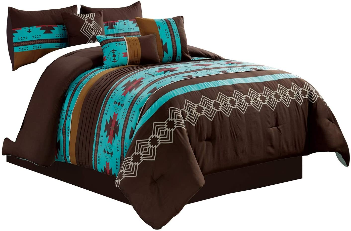 WPM WORLD PRODUCTS MART 7 Piece Western Southwestern Native American Design Comforter Set Multicolor Teal/Coffee Brown Embroidered Queen Size Bed in a Bag Navajo Bedding Set- Makala
