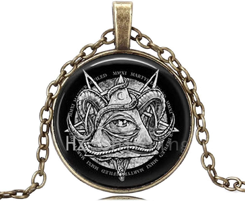 Gemingo Crescent Moon Sterling Silver Satanic Moon Necklace Glass Dome Satanic Black Necklace