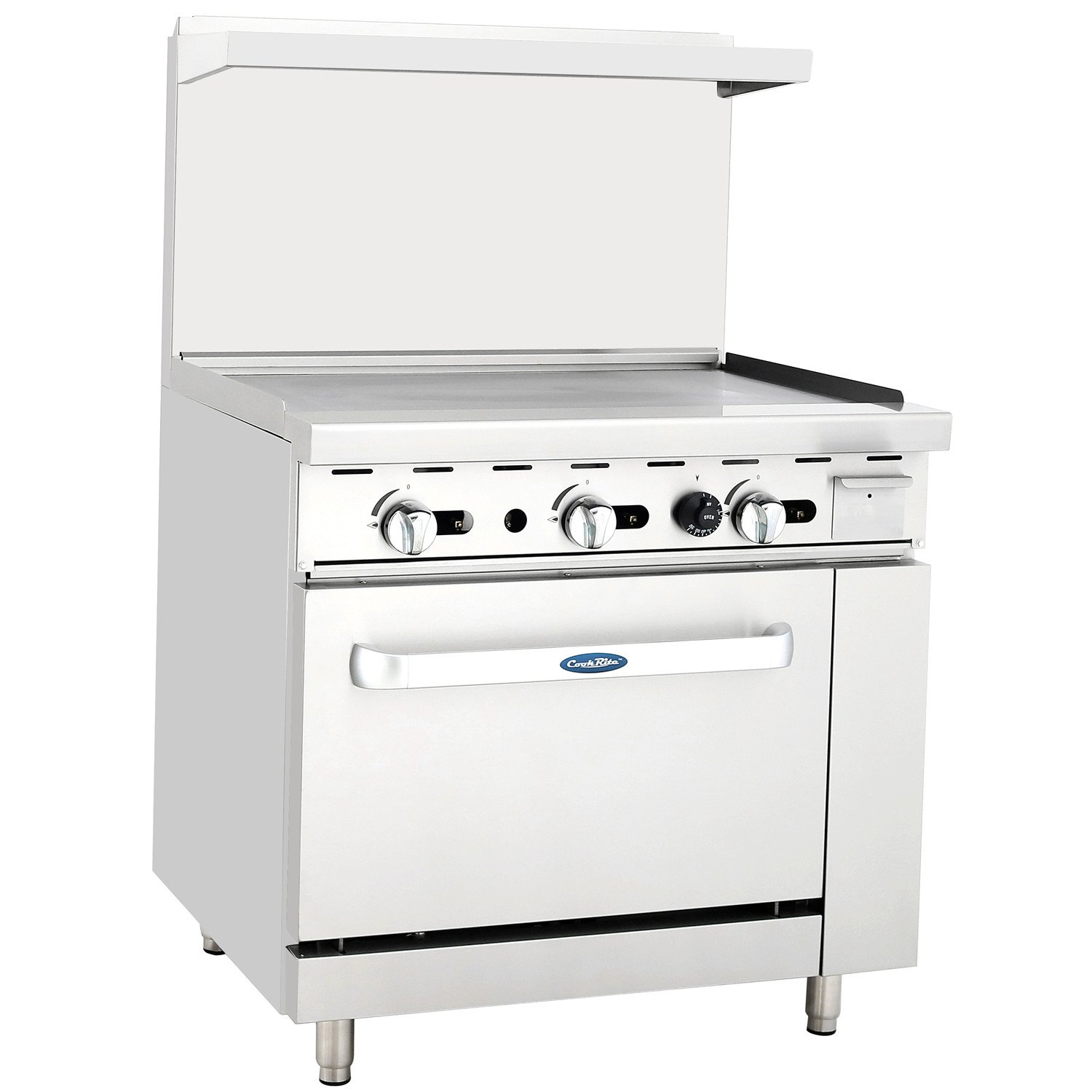CookRite Commercial Restaurant Griddle With Propane Oven Cooks Standard Liquid Propane Range 36'' Stainless Steel - 102,000 BTU