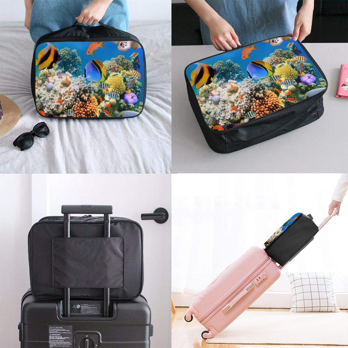 SSZW Colorful Underwater World Travel Duffel Bag Waterproof Fashion Lightweight Large Capacity Portable Luggage Bag