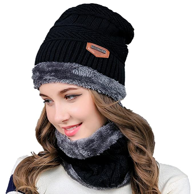 89ab8a069 Hellofuture 2-Pieces Winter Beanie Hat Scarf Set Warm Knit Hat Thick Fleece  Lined Winter Hat & Scarf for Men Women