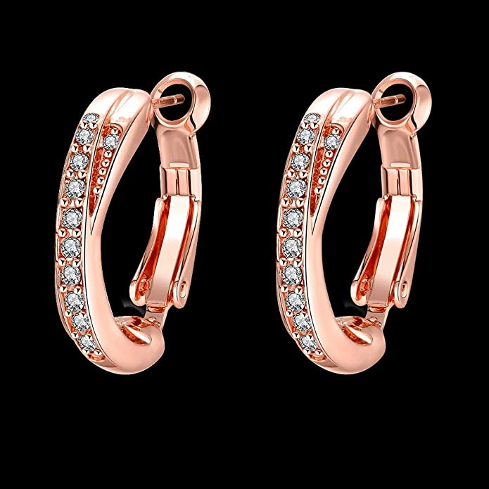 Souarts Women Rose Gold Color Round Rhinestone Hoop Earrings Christmas Gift Earrings 07rkk6KRG