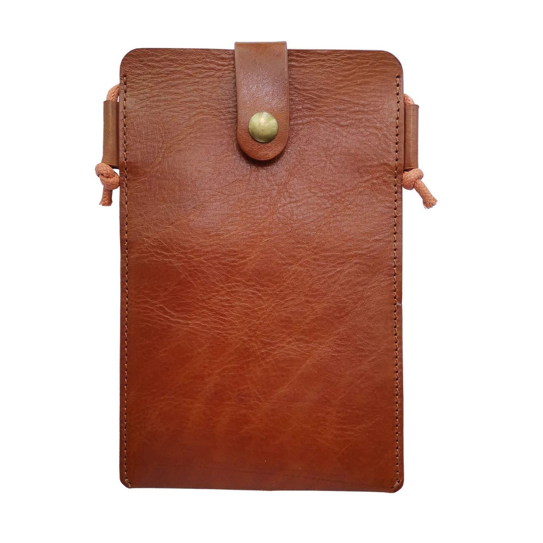 GenuineLeather Cellphone Pouch/Purse for iPhone X /8/7/6/6s Plus Single Shoulder Strap Bag Mini Crossbody Bag (Cognac) by WD&J