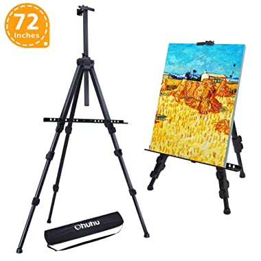 """Easel Stand, Ohuhu 72  Artist Easels for Display, Aluminum Metal Tripod Field Easel with Bag for Table-Top/Floor/Flip Charts, Black Art Easels W/Adjustable Height 25-72"""" for Back to School"""