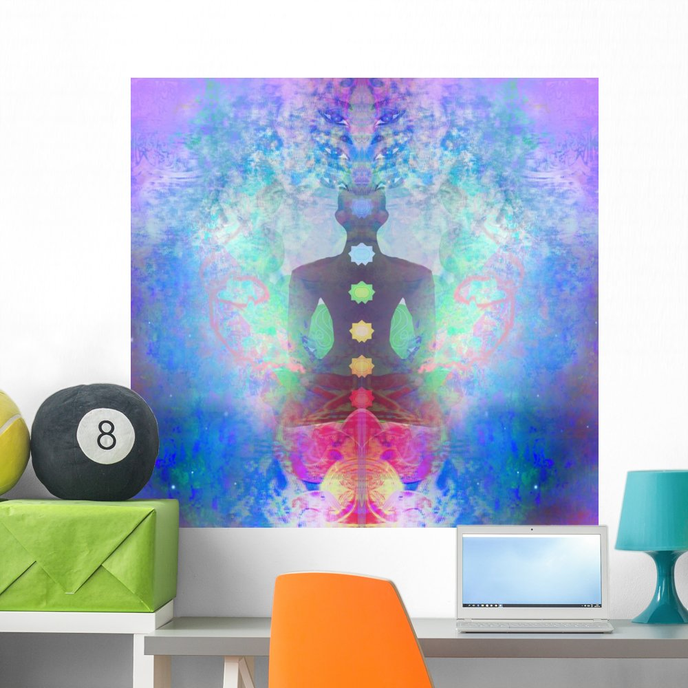 Wallmonkeys Padmasana Chakra Lotus Yoga Wall Mural Peel Stick Graphics (48 in W x 46 in H) WM188027