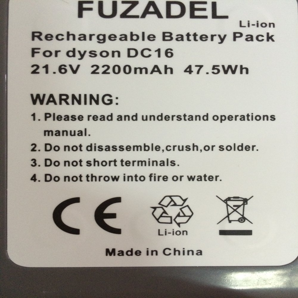 FUZADEL 2200mAh 21.6V Replacement Dyson DC16 Lithium-Ion Rechargeable Battery for Dyson Root 6 ; Animal;Issey Miyake ; 912433-01 912433-03 912433-04