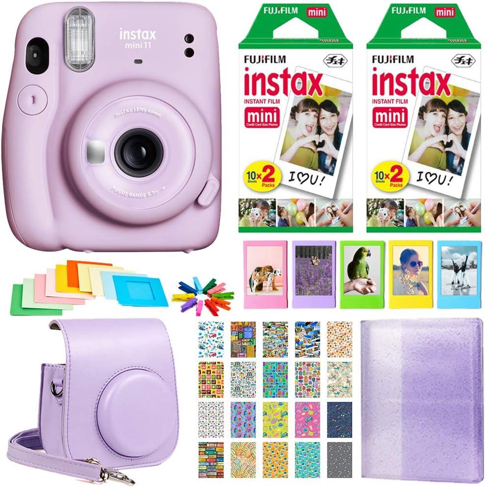 Fujifilm Instax Mini 11 Instant Camera - Lilac Purple (16654803) + 2X Fujifilm Instax Mini Twin Pack Instant Film (40 Sheets) + Protective Case + Photo Album - Instax Mini 11 Accessory Gift Bundle