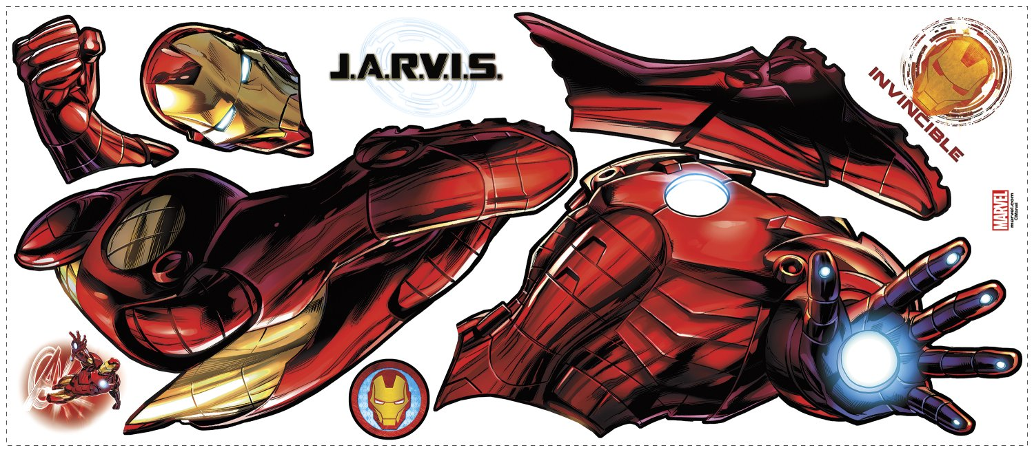RoomMates RMK3172GM Iron Man Peel and Stick Giant Wall Decals with Glow by RoomMates (Image #3)