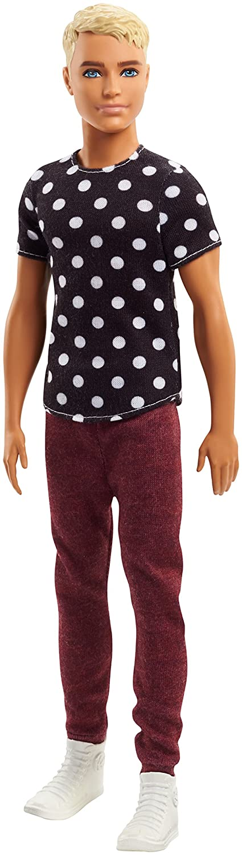 Barbie FJF72 Ken Fashionistas Puppe in Schwarzen Shirt mit Punkten Mattel