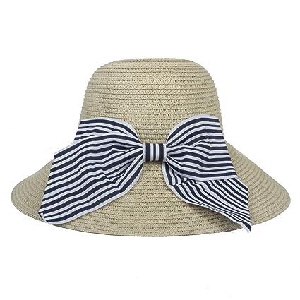 JIALUN-sombrero Sombrero de Sol para Mujer con Sombrero Bowknot de Paja Moda  y Personalidad bdd73a4fb54