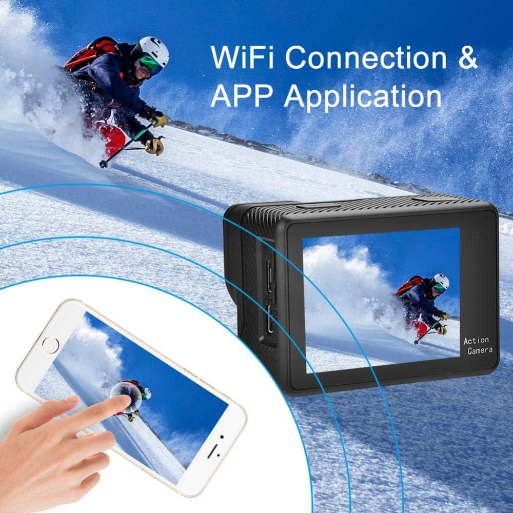 C/ámara de acci/ón dual con pantalla t/áctil c/ámara de acci/ón de /ángulo amplio de 130 /° Control remoto WiFi 4K Ultra HD 12MP juego de c/ámara deportiva antivibraci/ón con visi/ón nocturna incl.