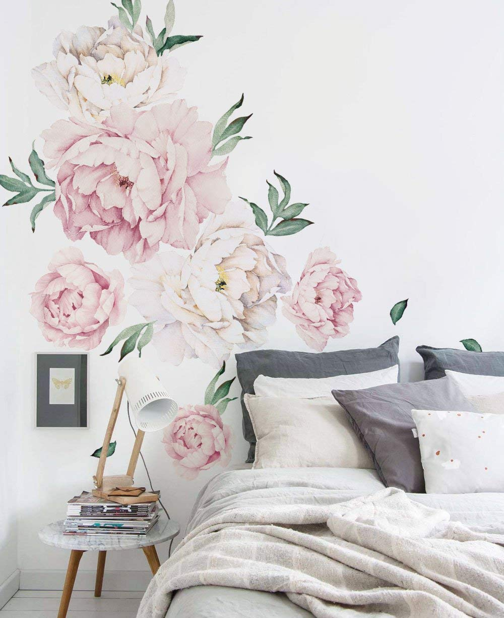 Simple Shapes Peony Flowers Wall Sticker - Vintage Pink